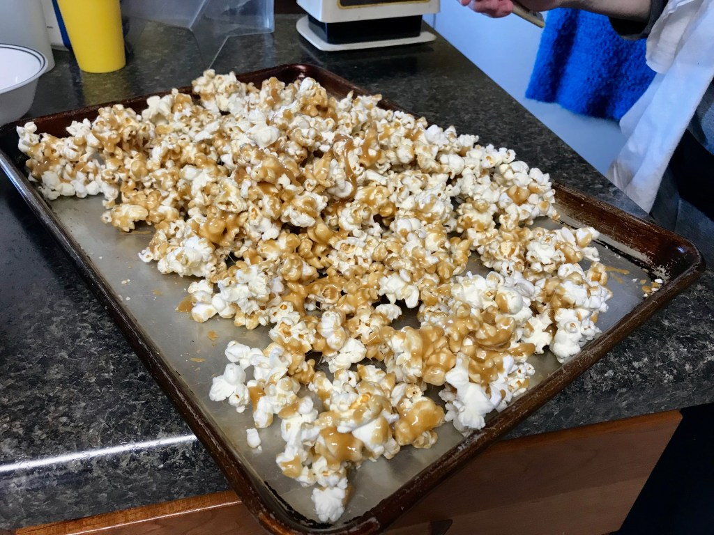 Make sure to stir your caramel popcorn occasionally