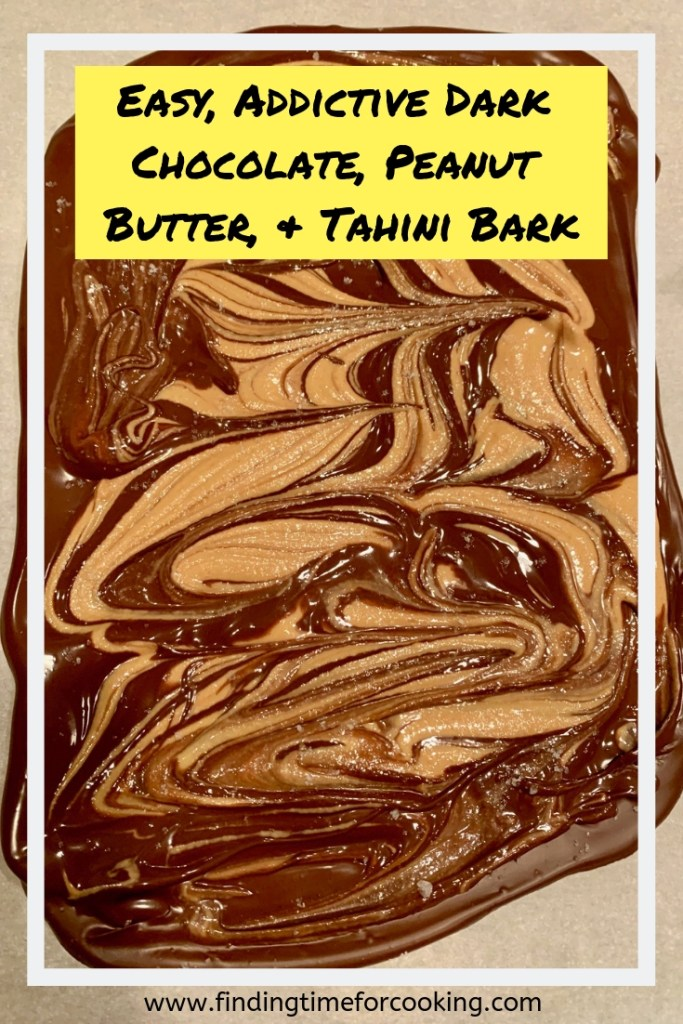 Addictive Dark Chocolate, Peanut Butter, & Tahini Bark | this super easy & totally delicious bark can be made in just a few minutes & is an indulgent but semi-healthy dessert! Naturally gluten-free as well. #barkrecipe #darkchocolate #peanutbutter #tahini #gf #glutenfree #glutenfreedessert #dessert #recipe