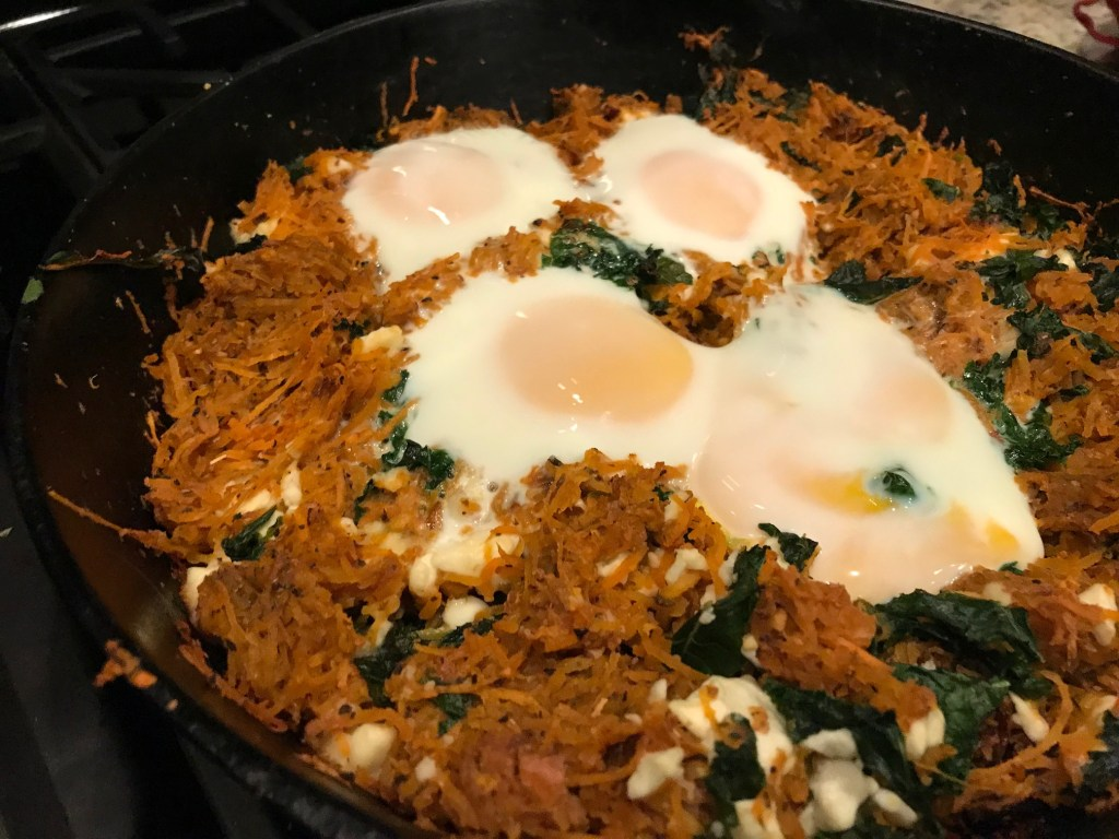 Feta & Sweet Potato Hash with Greens | finding time for cooking blog