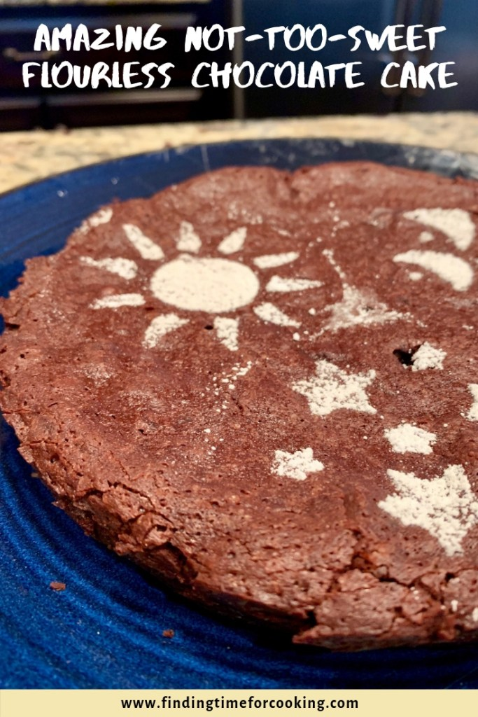 Amazing, Easy, Not-Too-Sweet Flourless Chocolate Cake (gluten-free)   This delicious and fancy dessert is super easy, a gluten-free and flourless dessert for Passover or the Days of Unleavened Bread.