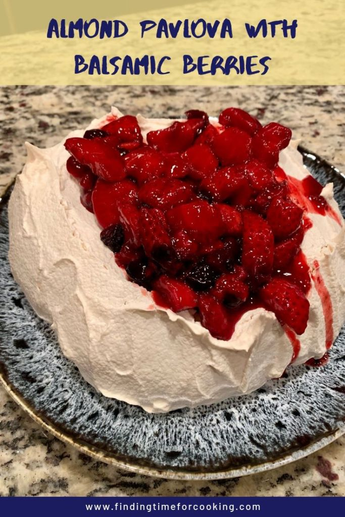 Easy Almond Pavlova with Balsamic Berries pinterest image