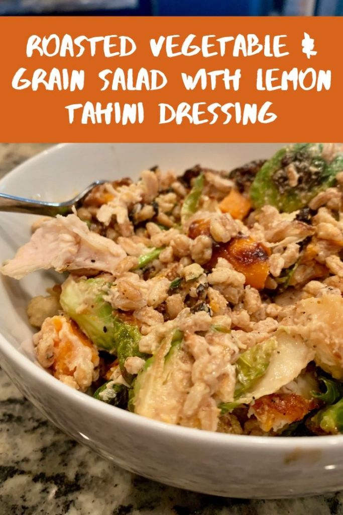 roasted vegetable & grain salad with lemon tahini dressing - pinterest image