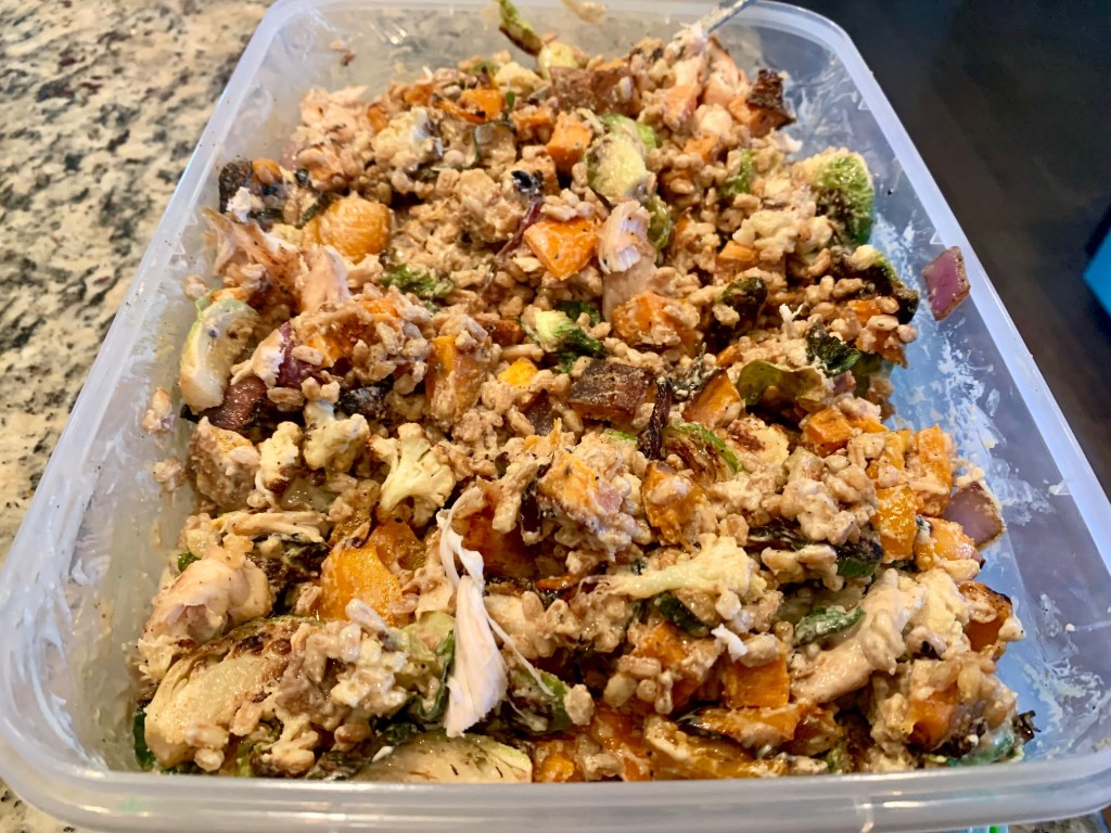 roasted veggie & grain salad with lemon tahini dressing