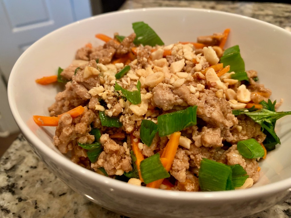 healthy thai chicken with cauliflower rice, gluten free