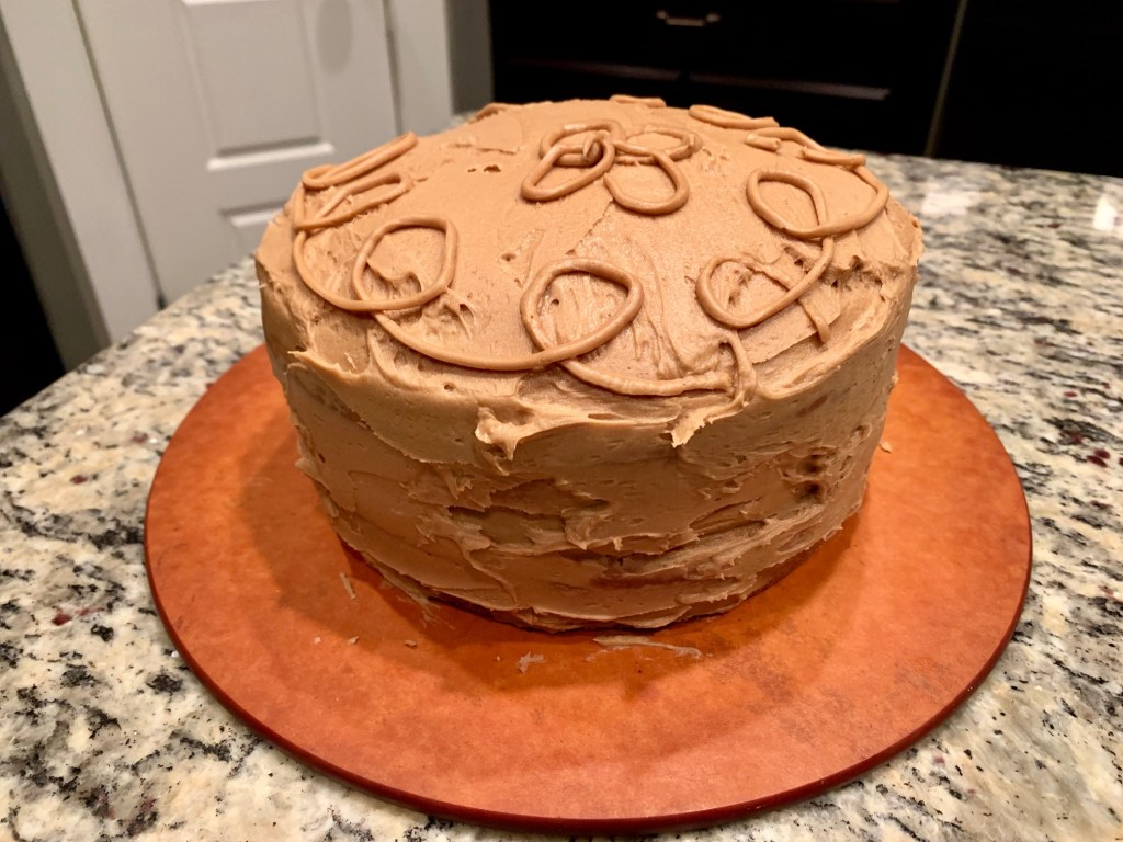 Finished & decorated coffee cardamom cake with bulletproof (coffee) frosting