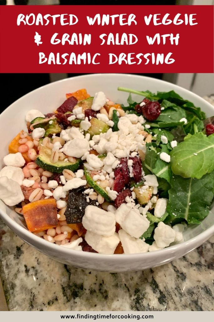 Hearty Winter Roasted Vegetable & Grain Salad with Balsamic Dressing | This delicious and satisfying salad is perfect for meal prep, for a Meatless Monday meal, or just to feel like you're eating healthy without giving anything up. Full of roasted vegetables, grains, goat cheese, dried cherries, baby kale, and more. #salad #vegetarian #healthyrecipe