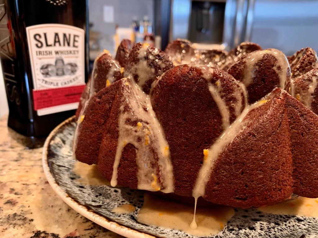 A dark chocolate whiskey cake using Slane Irish whiskey for St. Patrick's Day