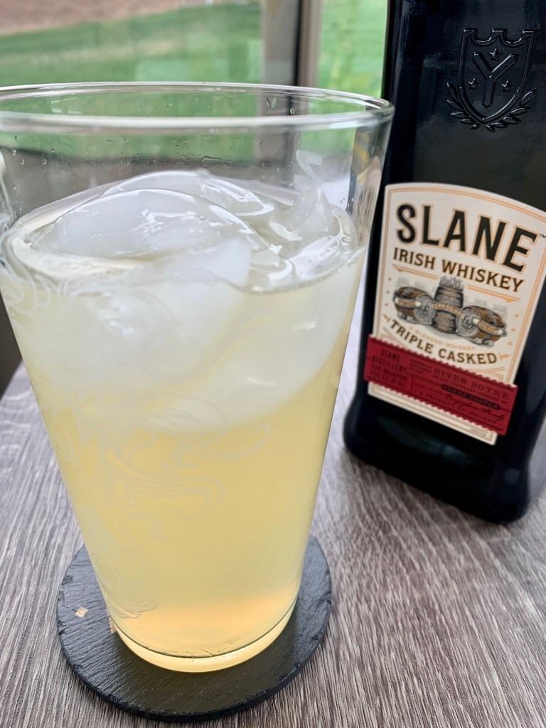 River Boyne Fizz...Irish Whiskey Cocktail with Lemon, Honey, & Tonic | This easy and refreshing whiskey cocktail uses complex Slane Irish Whiskey with fresh lemon juice, honey, and tonic water for something perfect for spring and summer. Sip this all day on your patio or by the pool! #cocktail #springcocktail #summercocktail #irishwhiskey