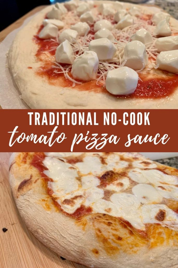 Simple No-Cook Tomato Sauce for Margherita Pizza | This simple pizza sauce recipe only takes a few ingredients and is made in the blender, for amazing homemade margherita pizza just like traditional Italian. Easy weeknight meal, perfect for grilled pizza. #pizzasauce #margherita #tomatosauce