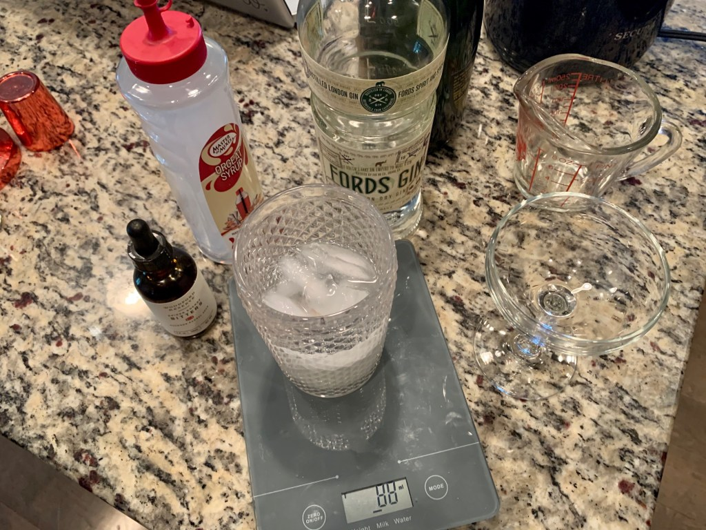 Ingredients for an Army and Navy drink recipe