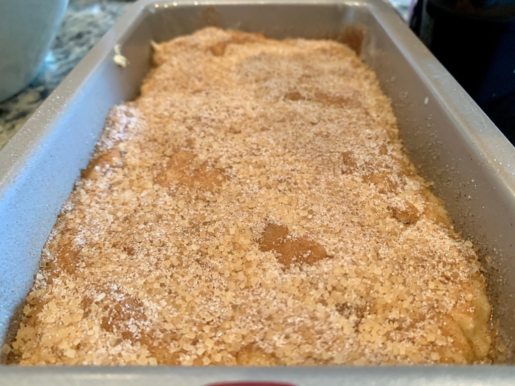 cinnamon sugar banana bread ready to bake