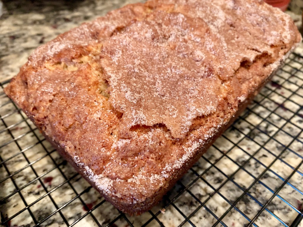 Baked loaf of snickerdoodle banana bread