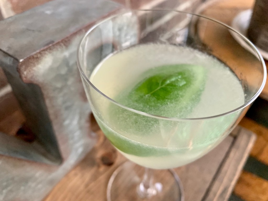 A delicious basil gin cocktail, this twist on a gimlet