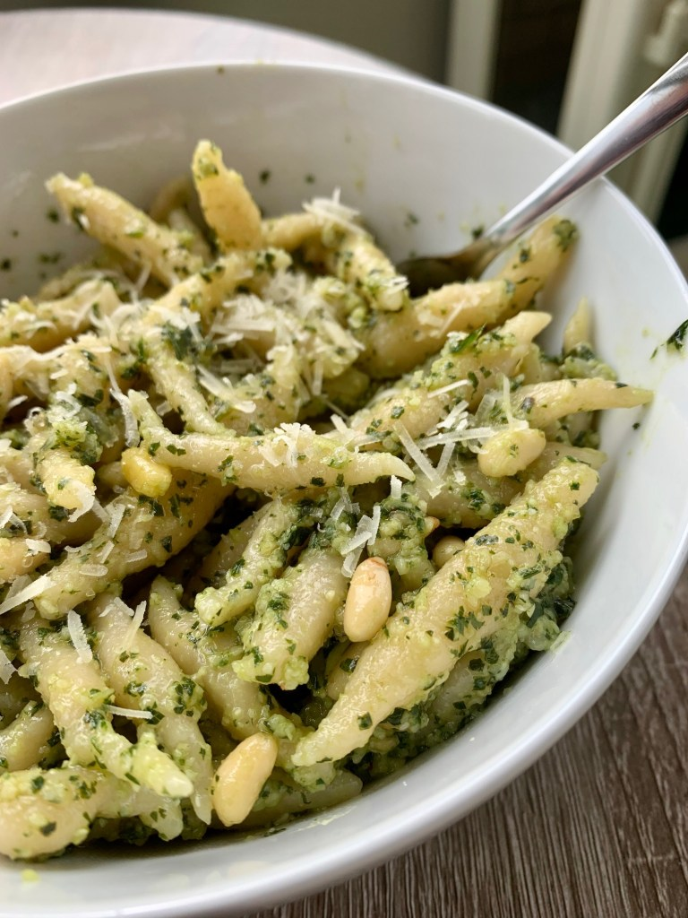 Authentic Ligurian Trofie Pasta with Fresh Pesto | I am in love with basil pesto, & this traditional Ligurian trofie pasta is what's always served with pesto...which originated in Liguria as well! This is an easy handmade pasta, no fancy ingredients or equipment, the best homemade pasta to start with! How to make Italian trofie pasta with pesto from scratch.