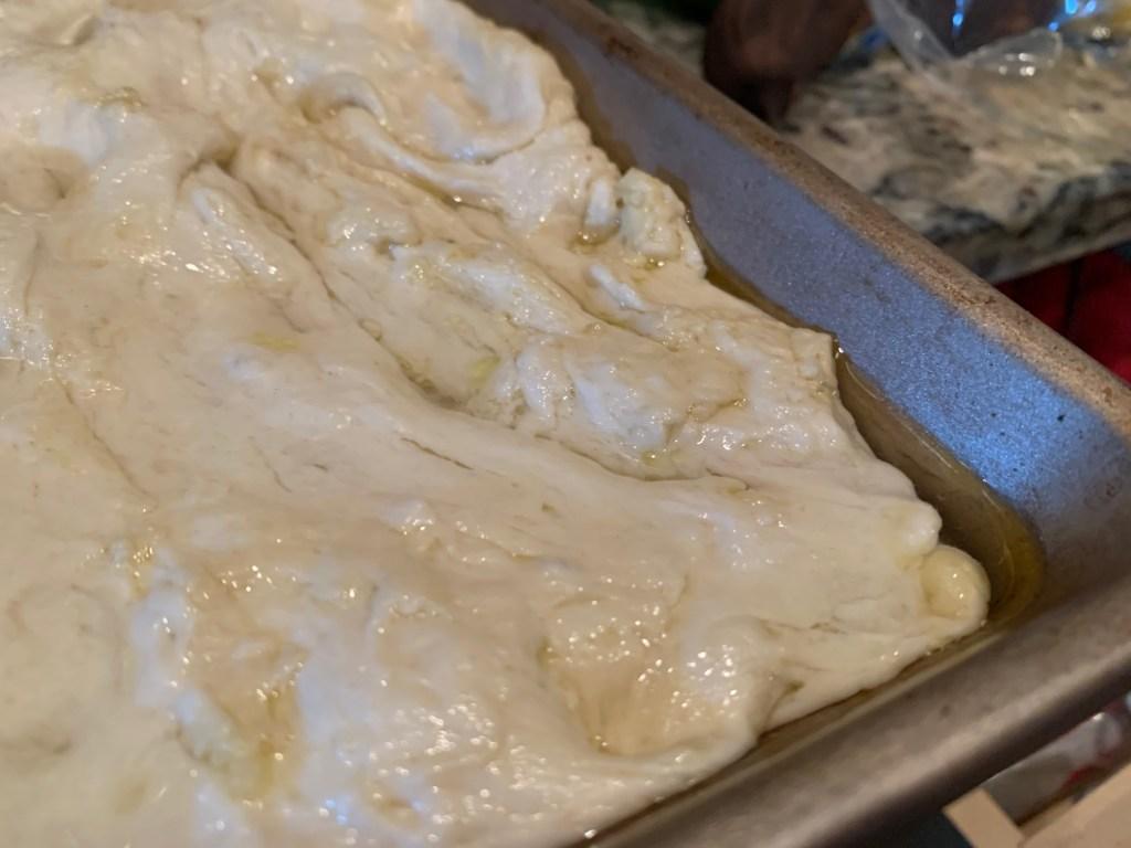 The brine makes this Ligurian focaccia unique versus regular focaccia bread