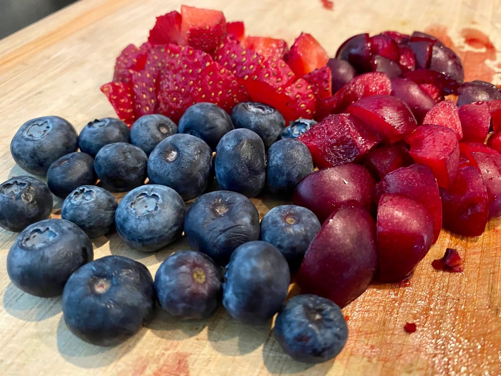 Small-Batch Mixed-Berry Cornmeal Pancakes (for one or two people) - berries