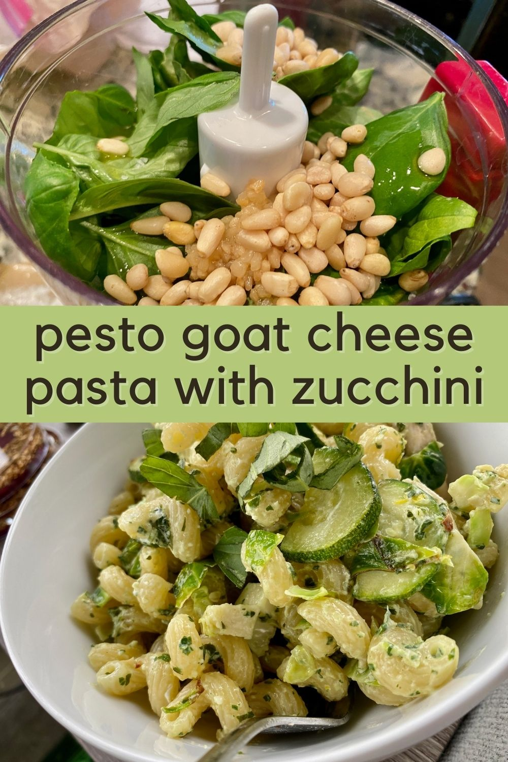 Pesto Goat Cheese Pasta with Zucchini   This is a perfect summer pasta, full of summer's fresh produce, with fresh basil and zucchini in a tangy light sauce. Ready in less than 30 minutes, a super easy vegetarian dinner recipe, perfect for meatless Monday. Easy pasta recipe. #pasta #pesto #goatcheese #zucchini #summerrecipe #30minutemeal