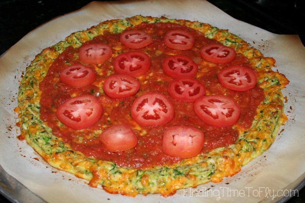 Zucchini Crust Low Carb Pizza-add tomatoes