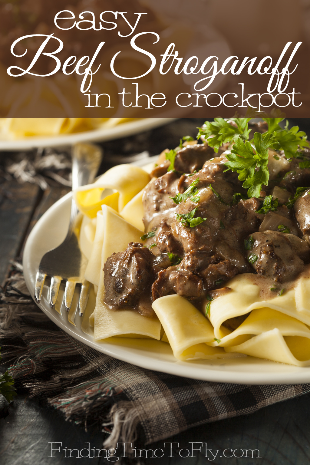 Homemade Hearty Beef Stroganoff made in a crockpot.
