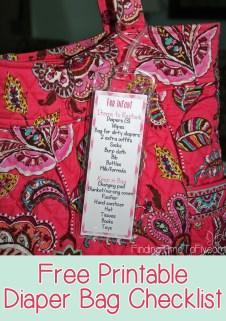 Free Printable Diaper Bag Checklist