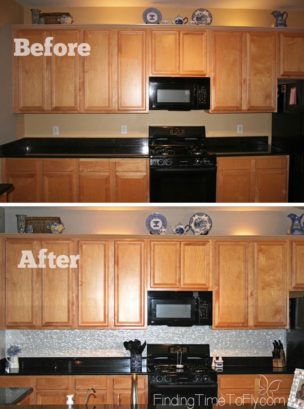 Before and after pics of Mother of Pearl mosaic tile backsplash and black granite countertops. Gorgeous!