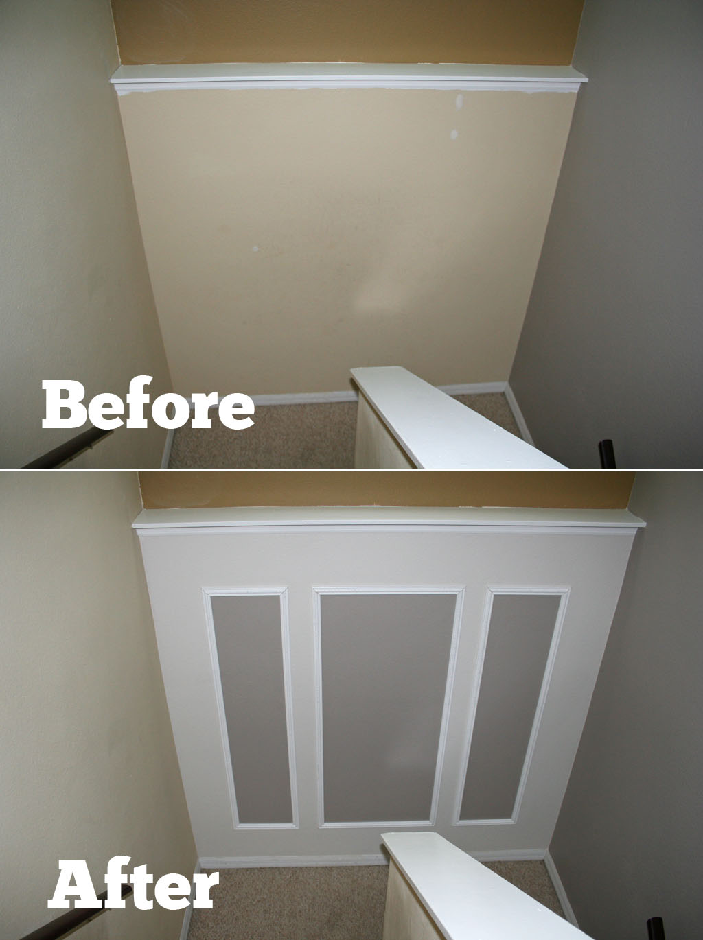 This 5 To 6 Hour Project Using Only Paint And Moulding Will Completely  Transform Your Stairway