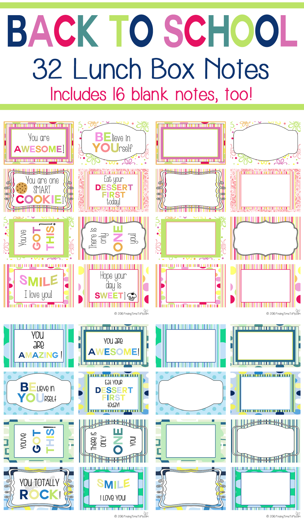 image about Free Printable Lunchbox Notes called Lunch Box Notes for Back again In the direction of Faculty - Obtaining Period In direction of Fly
