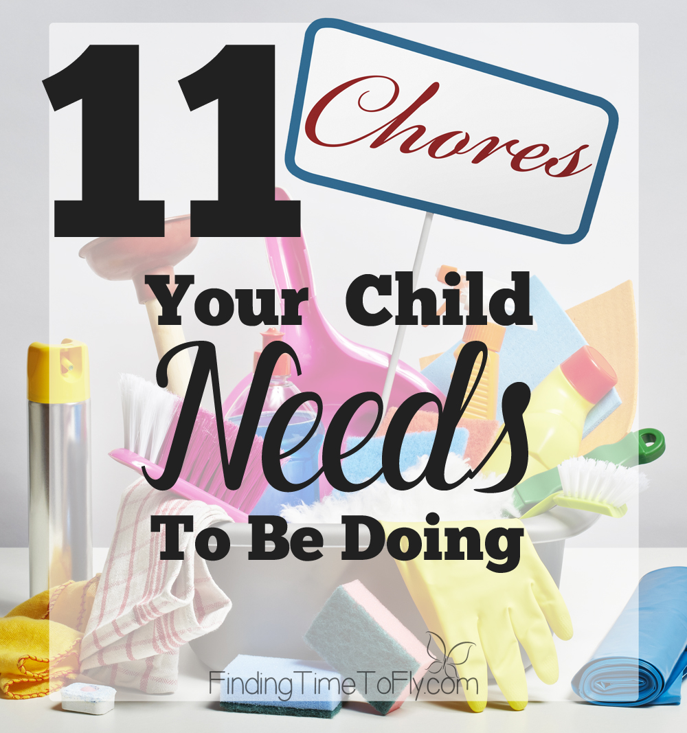 11 Chores Your Child Needs To Be Doing. What a great list of chores to be teaching the kids! Saving this!