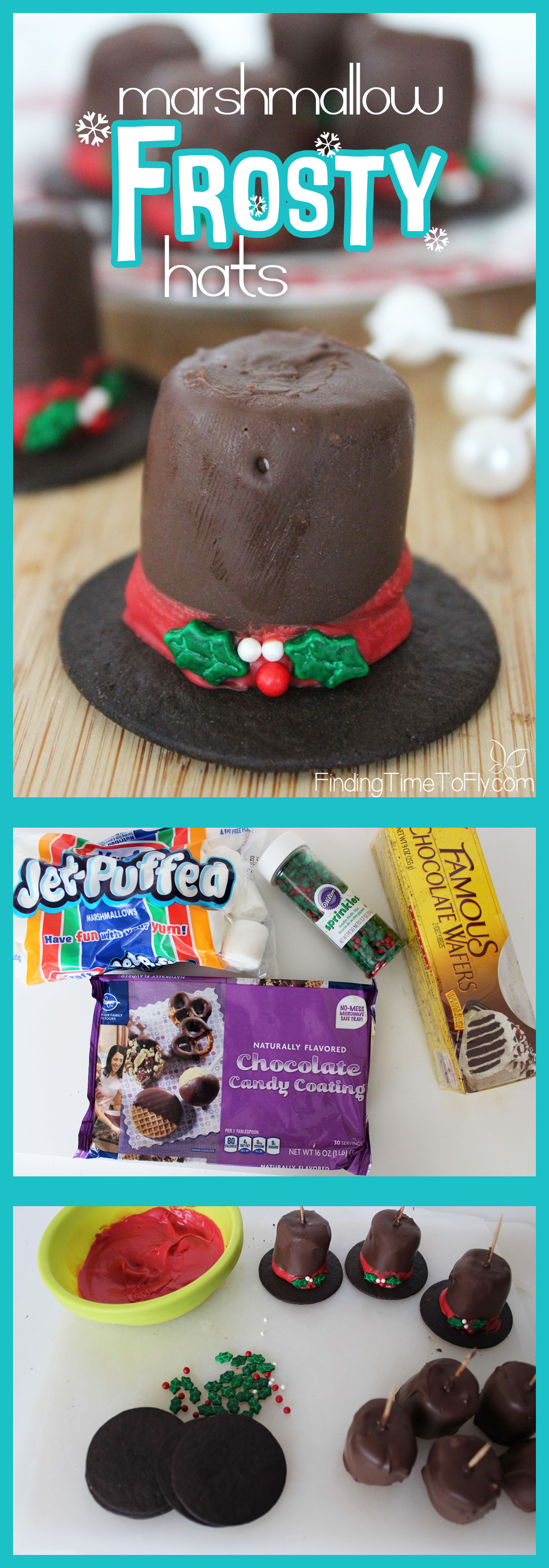 These Marshmallow Frosty Hats are perfect to include in Christmas Gift Baskets for friends and neighbors. With some little helpers, I can make dozens of these in half an hour!
