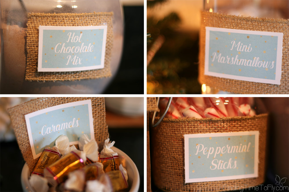 Gorgeous Hot Chocolate Bar in blues, whites and browns. Includes free printable labels, step-by-step instructions and lots of pictures!
