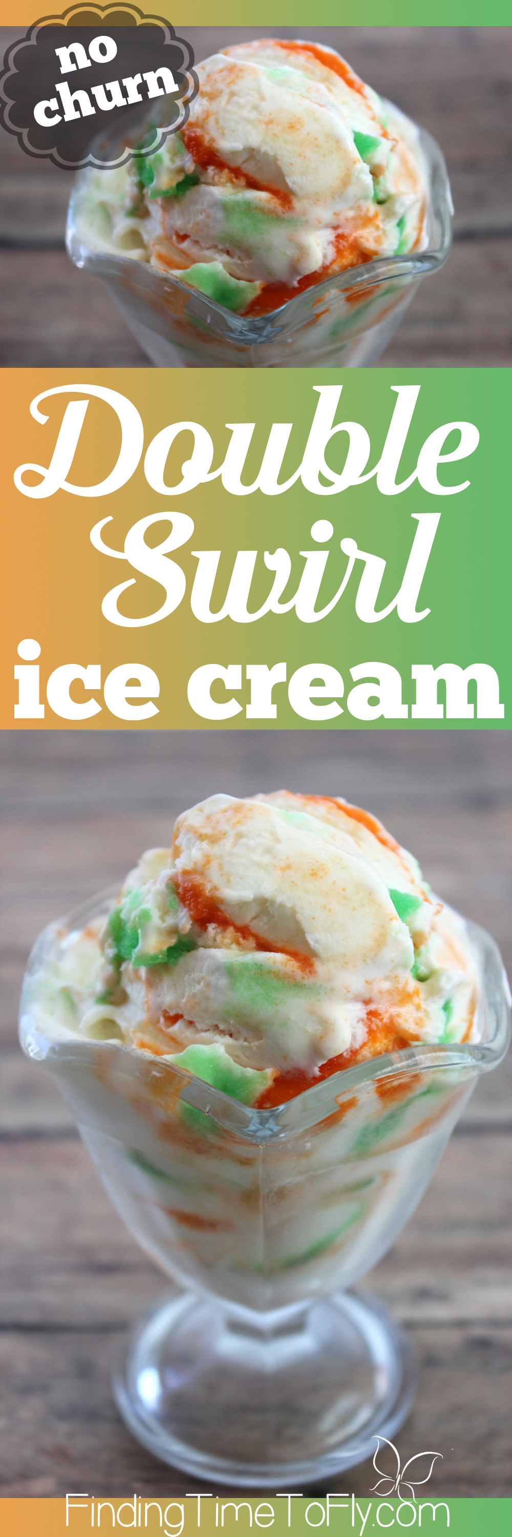 I love how you can change the colors and flavors with this easy homemade ice cream recipe. This no churn double swirl ice cream is going in my recipe collection for sure!