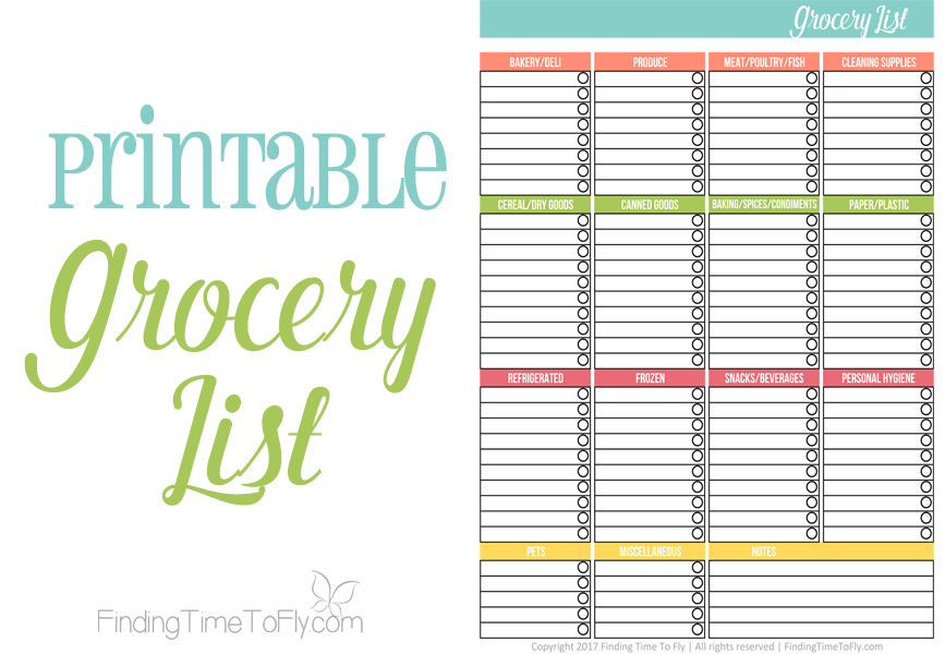 Printable Grocery List  Finding Time To Fly