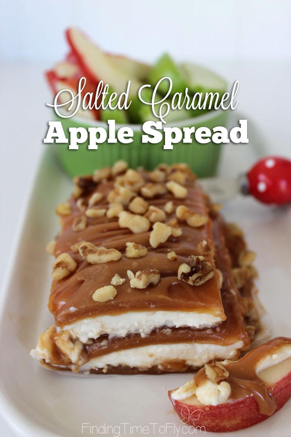 Salted Caramel Apple Spread is the perfect fall appetizer. Great for Thanksgiving Dinner, too. Make your own caramel sauce or save time using prepared caramel.