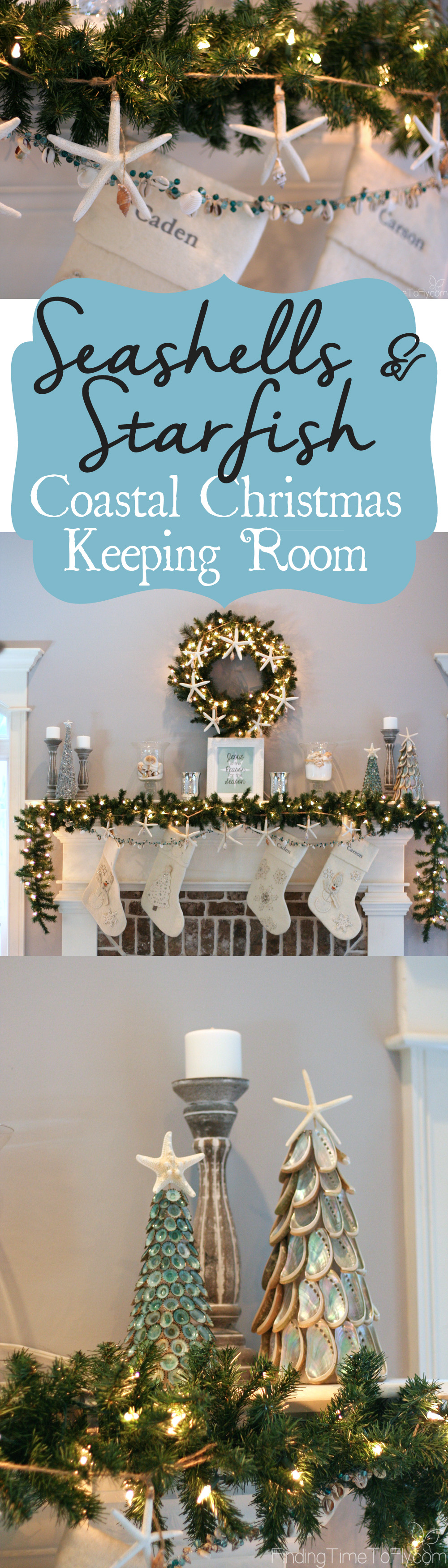 Coastal Christmas Keeping Room With Elegant Fireplace Mantle, Seashell Christmas