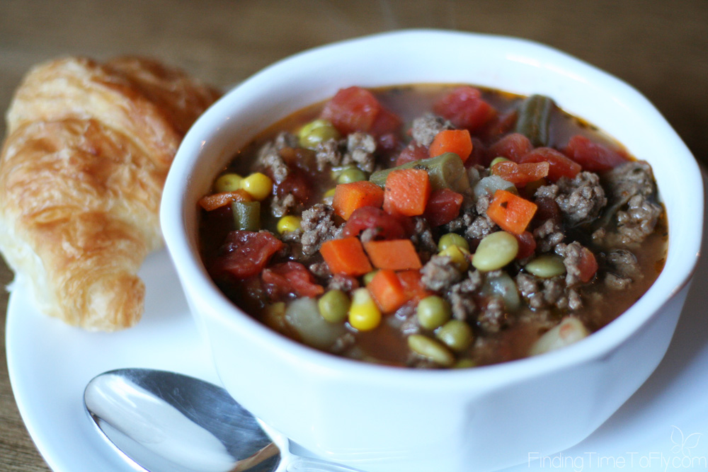 This quick and easy Hamburger Vegetable Soup is great for a week night dinner and a sneaky way to get veggies into your family!