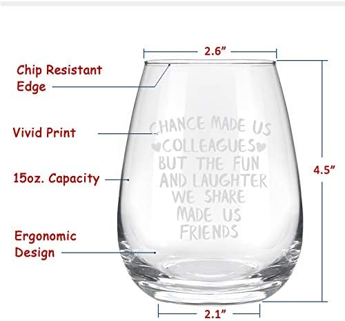 Chance Made Us Colleagues Stemless Wine Glass 15Oz