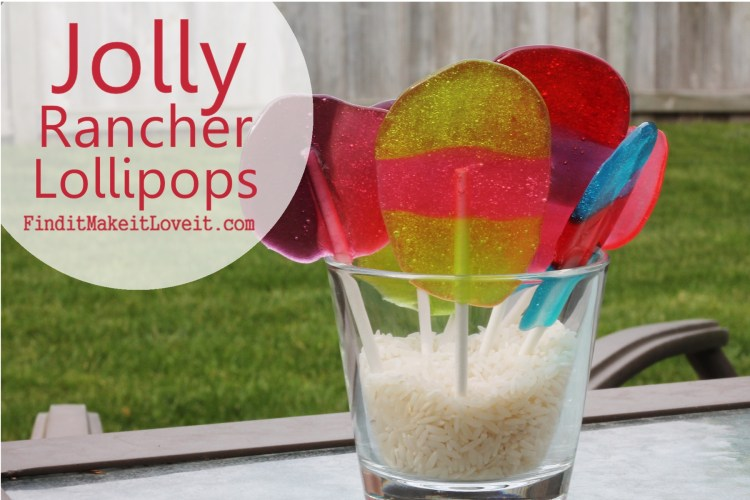 Easy lollipops to make with kids using Jolly Rancher candies and lollipop sticks!  Easy and fun, perfect summer activity