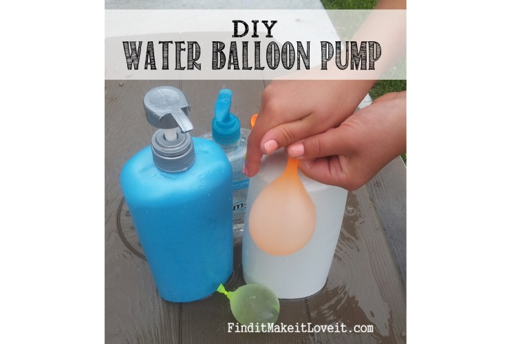 A super easy DIY water ballooon pump!  Re-purpose a common household item to make filling water balloons simple enough for kids!