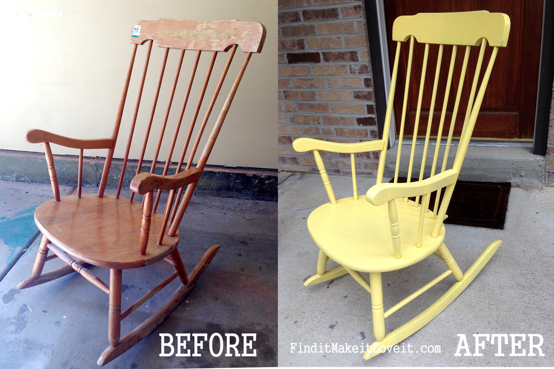 yellow rocking chair mid century modern accent chairs spray painted find it make love