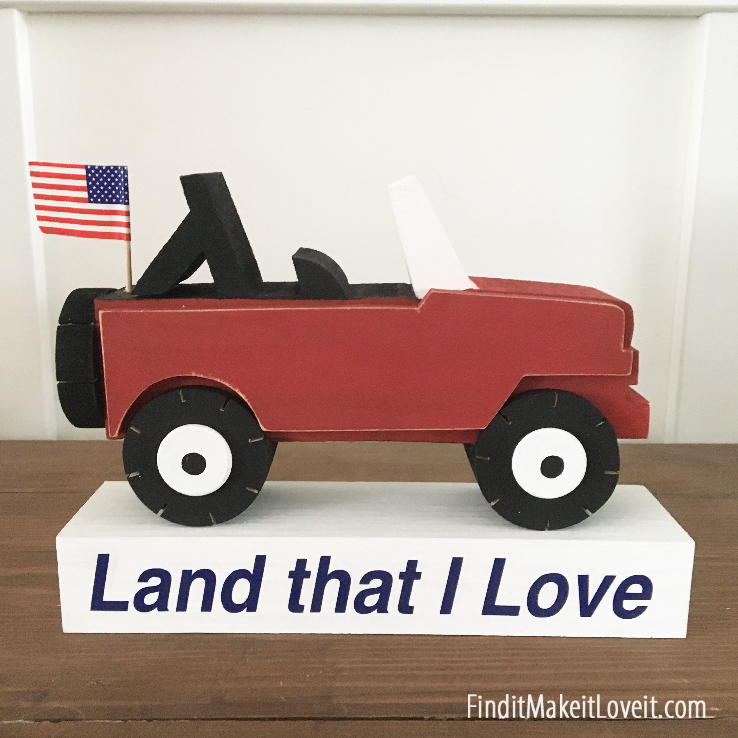 Patriotic Jeep wood craft