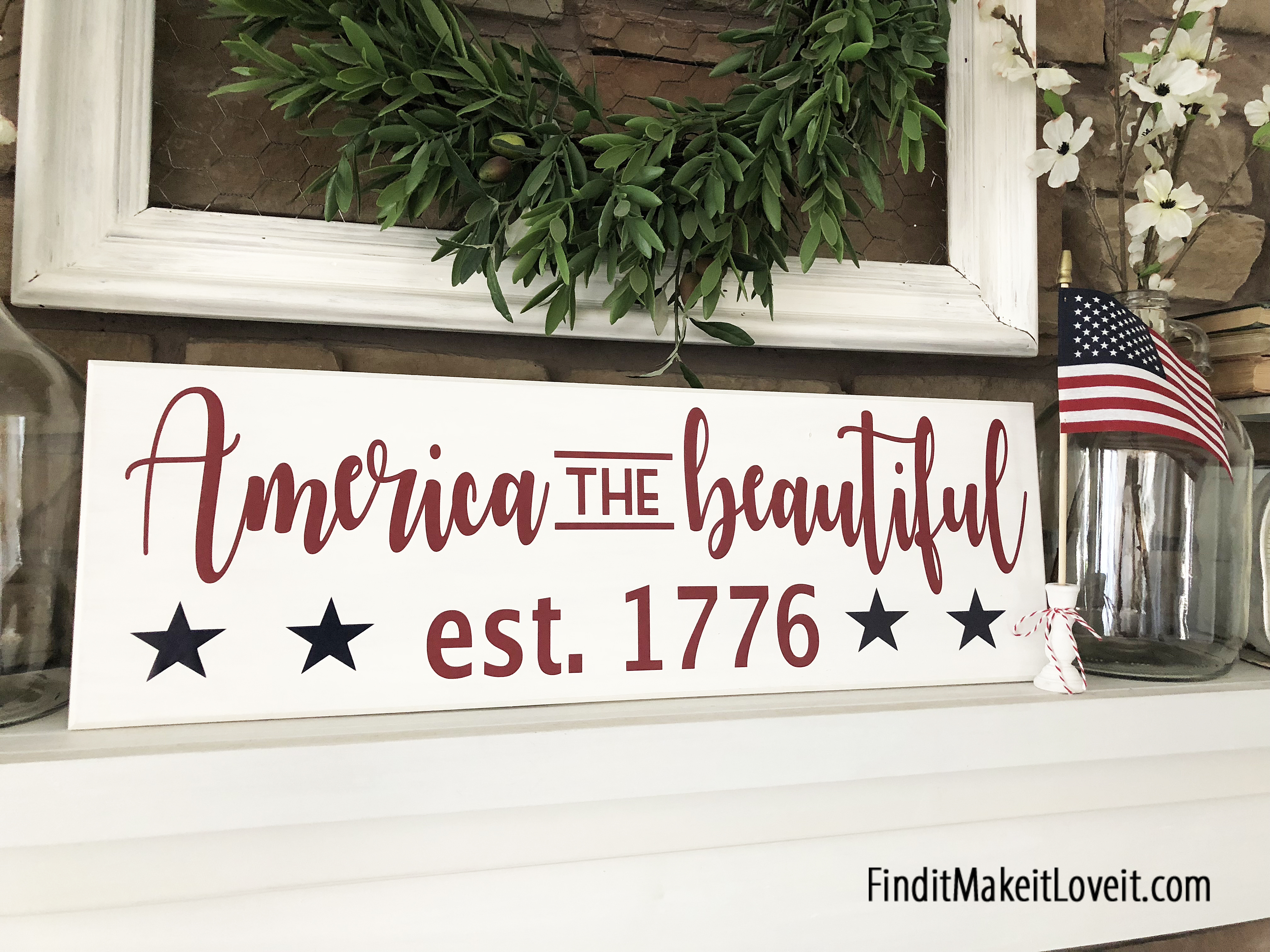 America the Beautiful Sign - How to make a sign using vinyl