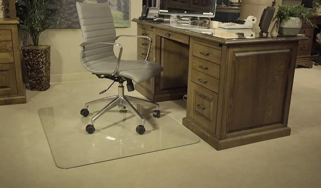 desk chair glass mat reupholster a with leather how to choose the best and double your flooring lifetime benefits of using