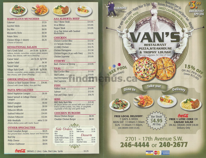 vans pizza menu