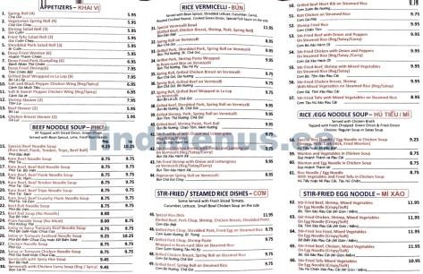 Blue Ocean Vietnamese Restaurant Menu 2