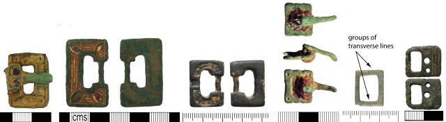 A selection of early Anglo-Saxon buckles with rectangular frames.