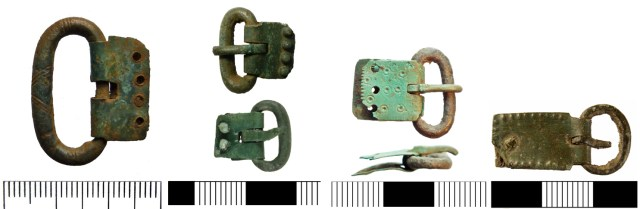 A selection of early Anglo-Saxon buckles with rectangular plates