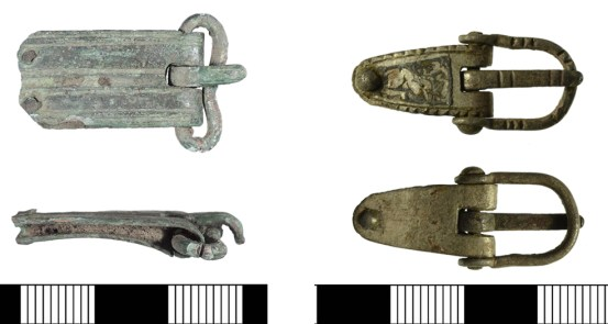 Buckle of possible 9th-century date (LIN-5AC340 and buckle with good Trewhiddle-style decoration on the plate (SF-A03892)