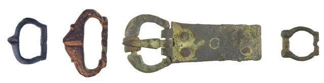 Buckle frame with pointed pin rest (PUBLIC-C64DEA), with pointed outside edge ( NLM-593896), with a constriction in the outside edge for a roller (WILT-DDE14C), and with a constriction in the outside edge and a bump in the centre of the bar (YORYM-5EE74E)