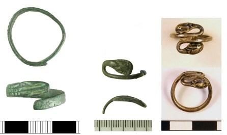 Roman snake-rings (BH-C96B34, WMID-6DC3A7, and SF-0D87F5)