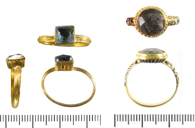 Finger-rings with cut gems